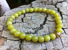 Green Quartzite Gemstones Stretch Bracelet Apple by MiaCocoDesigns, $14.00