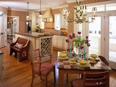 French Country Kitchen With Amazing Lights