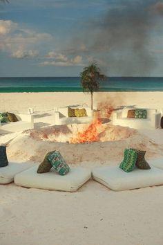 At a private beach in the Bahamas, a modern beach wedding captured by Jason Mize Photography. Harbour Island, The Bahamas. Wedding Bells, Wedding Ceremony, Wedding Bonfire, Perfect Wedding, Dream Wedding, Wedding On The Beach, Night Beach Weddings, Beach Wedding Reception, Beach Ceremony