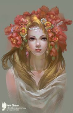 Persephone by jjlovely.deviantart.com on @deviantART  Greek Gods Tarot deck— Persephone. LOVE the flowers and colors in her hair. Persephone is definitely blonde.