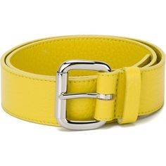 Orciani Square Buckle Belt (£62) ❤ liked on Polyvore featuring accessories, belts, leather belts, yellow belt, real leather belts, orciani belts and yellow leather belt