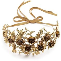 Jennifer Behr Dulcina Brass Bandeaux Headband ($765) ❤ liked on Polyvore featuring accessories, hair accessories, jewelry, hair, headwear, apparel & accessories, gold, flower headwrap, jennifer behr hair accessories and flower headband