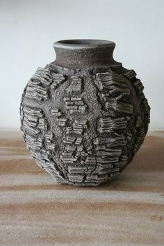 Patricia Shone Ceramics, Erosion Jar click the image for more details. Hand Built Pottery, Slab Pottery, Pottery Vase, Ceramic Pottery, Ceramic Flower Pots, Ceramic Pots, Ceramic Clay, Ceramic Techniques, Pottery Techniques