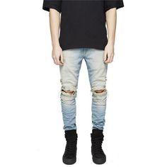 f6ce4df0dc0 2016 New High Street Biker Jeans Swag Mens Designer Ripped Washed Vintage  Destroyed Slim Fit Hipsters