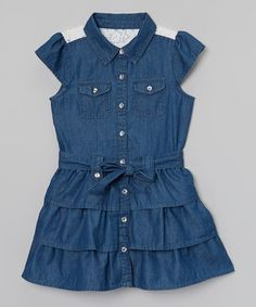 Another great find on #zulily! Dark Wash Button-Up Denim Dress - Toddler & Girls #zulilyfinds