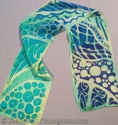 Deborah Younglao zentangle inspired hand painted silk scarf