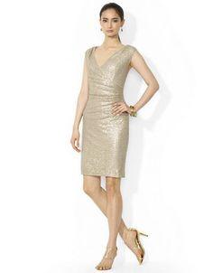 LAUREN RALPH LAUREN Cap Sleeved Sequined Dress - BEIGE -http://1tagdeals.com/fashion/shop/lauren-ralph-lauren-cap-sleeved-sequined-dress-beige-10/