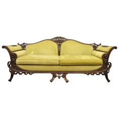 1930s Mahogany Chinese Chippendale Transitional Swan and Serpent Carved Sofa | From a unique collection of antique and modern sofas at https://www.1stdibs.com/furniture/seating/sofas/