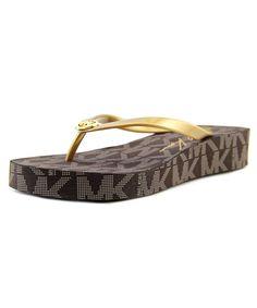 5df49775740e5 MICHAEL MICHAEL KORS Michael Michael Kors Bedford Flip Flop Women Synthetic  Gold Flip Flop Sandal .  michaelmichaelkors  shoes  sandals