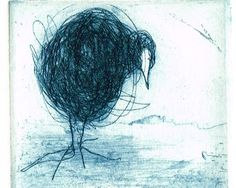 Original Etching, Hand Pulled Print of a Coot, Water bird, In Blue