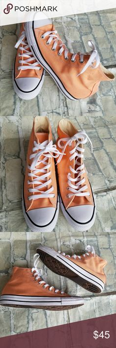 ⬇️Cyber Monday Flash Sale! Hightop Converse NWOT Peach colored. MEN'S SIZE 8- Women's size 10 Nwot Converse Shoes