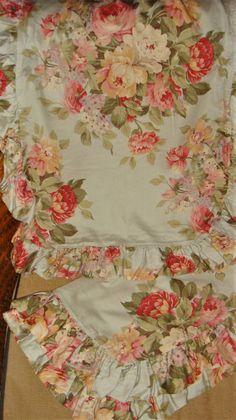 Ralph Lauren Stone Harbor Queen Ruffled Bedskirt EUC Aqua Floral #RalphLauren #Cottage