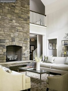 Love this fireplace stone for Florida