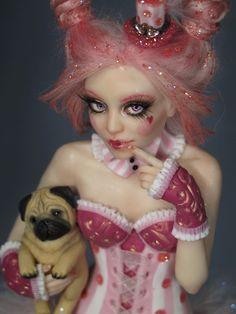 """Candy Pin-Up Pug"" OOAK by Sara Rojo Facebook fan page: https://www.facebook.com/SaraRojoFantasyArt"