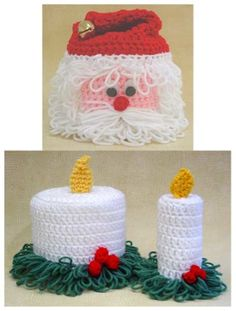 Christmas TP Toppers- The Christmas TP Toppers Crochet Pattern includes two holiday crochet patterns to cover toilet paper rolls. The set includes instructions for a Santa face toilet paper topper and candle topper. Crochet Gifts, Diy Crochet, Crochet Hooks, Crochet Motif, Holiday Crochet Patterns, Crochet Decoration, Crochet Christmas Ornaments, Small Candles, Glue Crafts