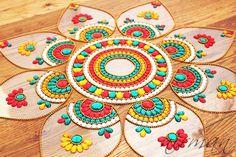 Rangoli - Pretty Huge Design, Kundan art sunflower kundan rangoli   Jumbo Pan  Red by Nirman