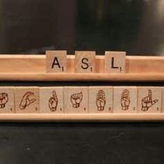 ASL scrabble tiles, this is awesome! Could be done with Braille too! Learn Sign Language, Speech And Language, Language Lessons, Evolution Of Video Games, Asl Interpreter, Braille, Asl Signs, Deaf Culture, American Sign Language
