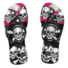 7587a34f7 Pink Black Skull Bling Pattern Flip Flops