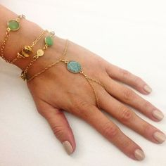 Beachy blues and greens make layers that we love! Brianna bracelet and the Hanna Wrap.