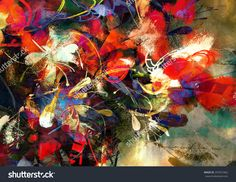 Digital Painting Of Abstract Bright Colorful Flowers Stock Photo 297872462 : Shutterstock