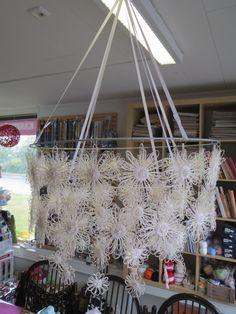 Paperinauhakukat on tehty puisella kukkapuulla, kiinnitetty aluksi isoon metallirenkaaseen korurenkailla ja sitten vielä toinen ja kolmas kerros kukkia korurenkailla edelleen.