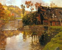Cottage by a Stream - Frits Thaulow