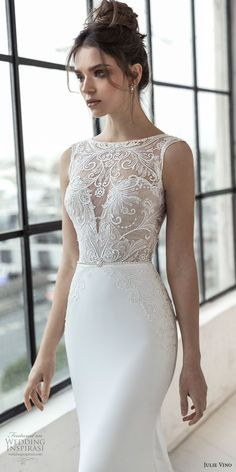 julie vino 2019 romanzo bridal sleeveless illusion bateau sweetheart neckline heavily embellished bodice elegan fit and flare wedding dress sheer lace chapel train (11) zv mv -- Romanzo by Julie Vino 2019 Wedding Dresses #weddingdresses