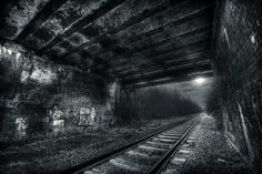 I think there's been some HDR processing in this black & white photo but it looks pretty cool. White Photography, Amazing Photography, Photography Ideas, Black N White Images, Black And White, Out Of The Dark, Train Tracks, Dark Beauty, Beautiful World