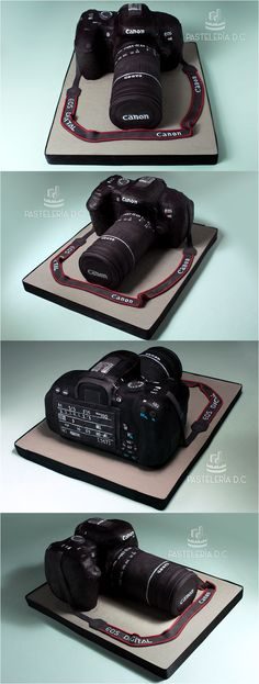 Torta réplica de la cámara canon t4i. Cubierta y detalles en fondant / This cake is a canon t4i camera replica. All covered with fondant.