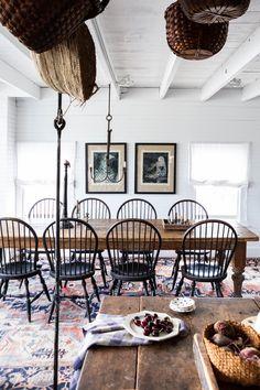Sharon and Paul Mrozinski's dining room, Vinalhaven, ME. They run Marston House. Decor, Interior, Maine House, Dining Room Design, Beach House Interior, Cape Cod Style House, Home Decor, House Interior, Vinalhaven