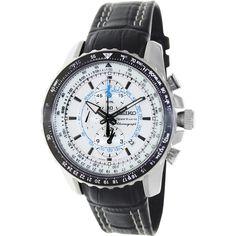 Seiko Men's Black Leather Strap White Dial Watch