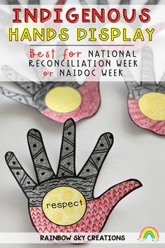 Our Indigenous Hands display is a perfect tribute for NAIDOC Week and/or National Reconciliation Week pack. Provide each student with a hand to design and decorate to be part of a collaborative art piece. The aim of the display is to acknowledge the history and traditions of the Aboriginal and Torre Strait Islander People. This artwork activity for kids is suitable for the Kindergarten, Pre-primary, Year 1, Year 2, Year 3, Year 4, Year 5, Year 6. Primary Classroom, Primary School, Teaching Resources, Teaching Ideas, Naidoc Week, Rainbow Sky, Year 6, Australian Curriculum, Collaborative Art