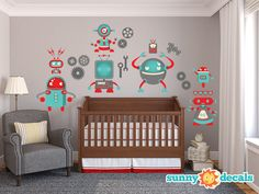 Robot Wall Decal Jumbo Nursery And Kids Rooms With Seven Large Robots, Gears…