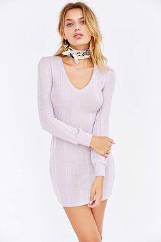 Kimchi Blue Lilac Blouson Sweaterknit Mini Dress - Urban Outfitters