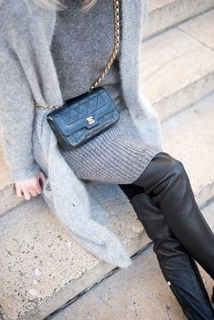 detail+knitwear+leather leggings