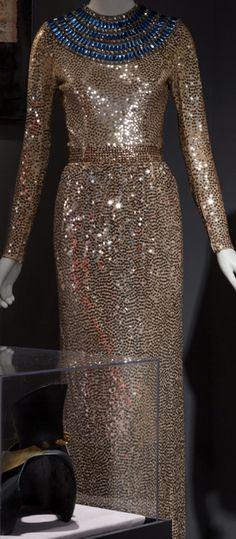 Norman Norell - Robe de Soirée 'Collier Egyptien' - Sequins Dorés et Pierres Imitation - 1971