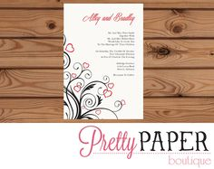 Wedding Invitation // Wedding Announcement // Hearts Wedding Invitation - Digital or Printed by PrettyPaperBoutique2 on Etsy