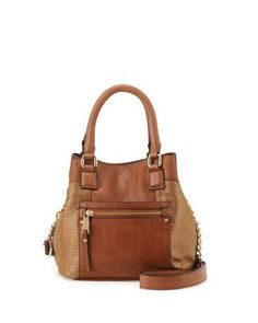 V2WX8 French Connection Ryan Metallic Faux-Leather Crossbody Bag, Nutmeg/Gold