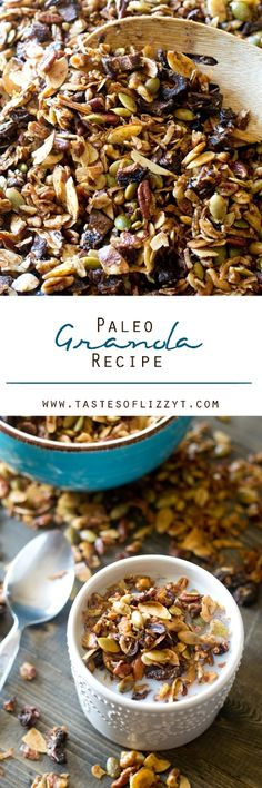 Paleo Granola Recipe on MyRecipeMagic.com. Here's a nutty, crunchy, paleo granola recipe baked in coconut oil and sweetened with dates. Serve this sugar-free recipe as a snack or for breakfast as cereal.