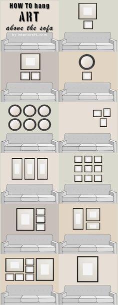 Disposição de quadros sobre o sofá