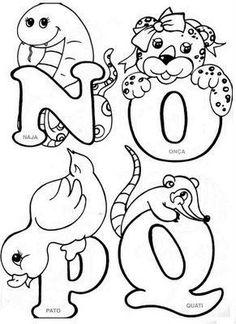Blog de josyartesanatosencantados :Josy.arts, Alfabeto de bichinhos. Embroidery Alphabet, Embroidery Patterns Free, Hand Embroidery Designs, Alfabeto Animal, Colouring Pics, Coloring Sheets, Coloring Books, Alphabet Templates, Alphabet Design