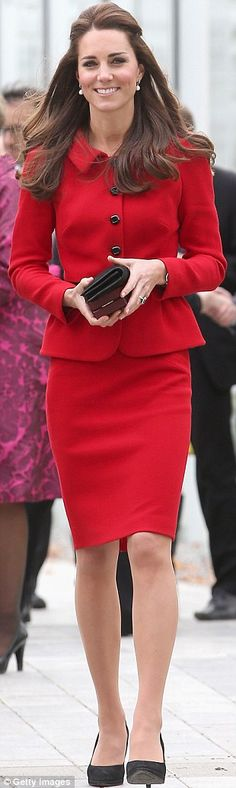 Recycled: Kate wore her £495 Luisa Spagnoli suit again while in Christchurch.  She was radiant!