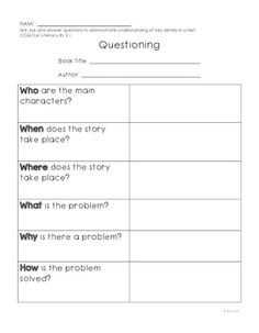"""FREE LANGUAGE ARTS LESSON - """"Common Core RL.2.1 Graphic Organizer""""-  Go to The Best of Teacher Entrepreneurs for this and hundreds of free lessons.  1st - 3rd Grade  #FreeLesson  #LanguageArts   http://www.thebestofteacherentrepreneurs.net/2014/09/free-language-arts-lesson-common-core.html"""