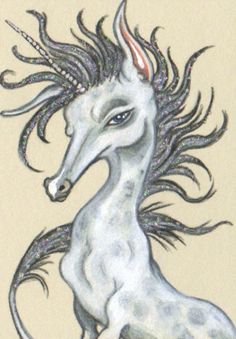 "ACEO (2.5""x 3.5"") ~DAPPLED UNICORN~ Water soluble colored pencil and gouache on Stonehenge paper. (sold)"