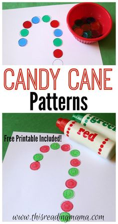 Candy Cane Patterns with FREE Printable - This Reading Mama