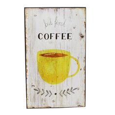 Tablou Coffee cu ceasca galbena 15x25 cm