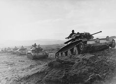 Covenanter and Crusader tanks of Polish 1st Armored Division in Britain 1944.