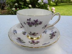 """Vintage Colclough Pink with Violets Teacup and Saucer; """"Bone China, Colclough, Made in England, A product of Ridgway Potteries Ltd."""""""