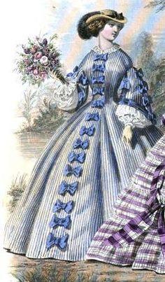 1859.  Le Moniteur de la mode.Bows down the front of skirt