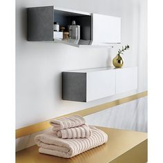 Shop hide n' seek storage shelf.   Slick hi-gloss brite white double doors flip to surprise grey powdercoated steel walls in a design by Diana Lu of Slate Design.  White lacquered engineered wood with super-thin grey sides that hint at the interior.